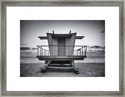 Black And White Lifeguard Stand In Framed Print