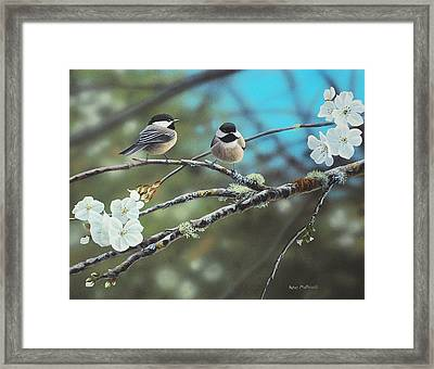 Framed Print featuring the photograph Black Capped Chickadees by Peter Mathios