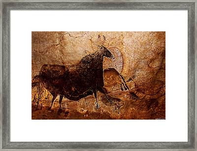 Black Cow And Horses Framed Print