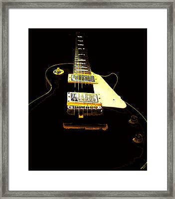 Framed Print featuring the photograph Black Guitar With Gold Accents by Guitar Wacky