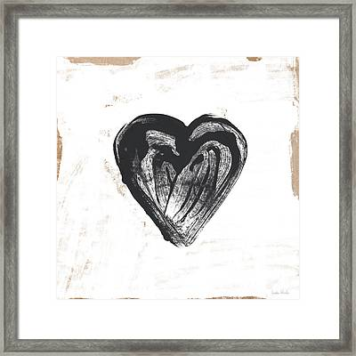 Framed Print featuring the mixed media Black Heart- Art By Linda Woods by Linda Woods