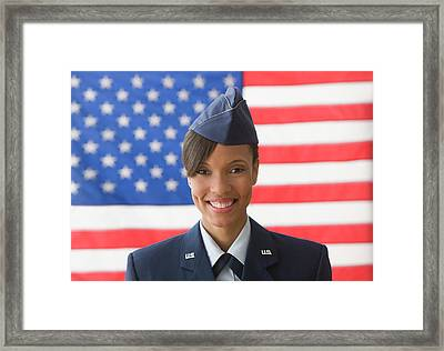Black Soldier Smiling By United States Framed Print by Jose Luis Pelaez Inc