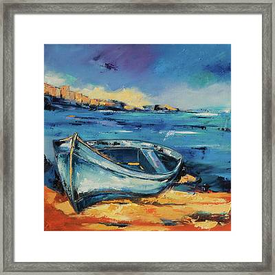 Blue Boat On The Mediterranean Beach Framed Print