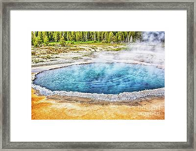 Framed Print featuring the photograph Blue Crested Pool At Yellowstone National Park by Tatiana Travelways