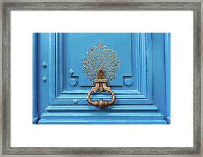 Framed Print featuring the photograph Blue Door In Paris by Melanie Alexandra Price