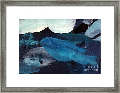 Framed Print featuring the painting Blue Fish by Maria Langgle