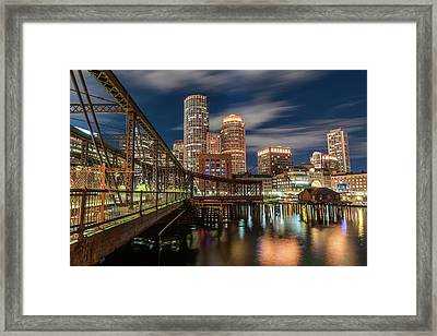 Blue Hour In Boston Harbor Framed Print