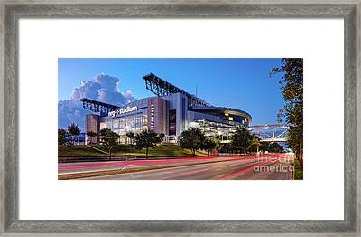 Blue Hour Photograph Of Nrg Stadium - Home Of The Houston Texans - Houston Texas Framed Print