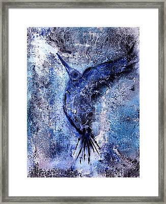 Framed Print featuring the painting Blue Hummingbird by 'REA' Gallery