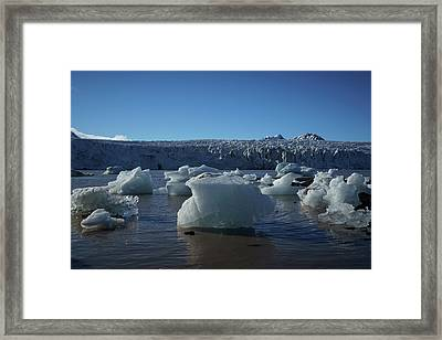 Blue Icebergs Floating Along Storm Arctic Coast Panorama Framed Print