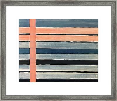 Blue Peachy Stripes Framed Print