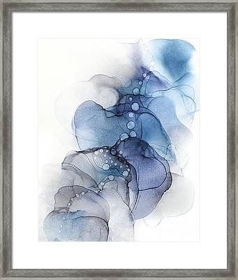 Blue Petal Dots Whispy Abstract Painting Framed Print