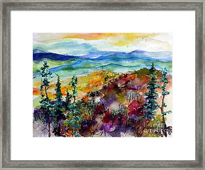 Framed Print featuring the painting Blue Ridge Mountains Autumn Impressions by Ginette Callaway