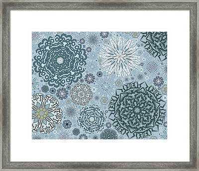 Blue Snowflake Pattern Framed Print by Bodhi Hill