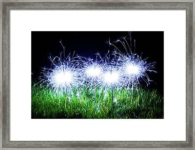 Framed Print featuring the photograph Blue Sparklers In The Grass by Scott Lyons