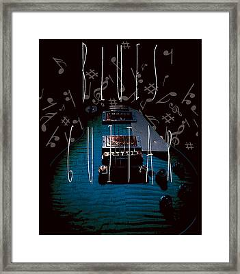 Framed Print featuring the photograph Blues Guitar Music Notes by Guitar Wacky