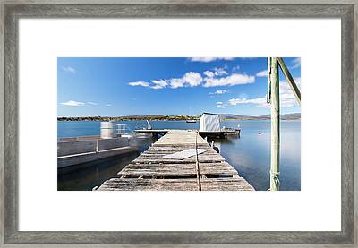 Framed Print featuring the photograph Boat Jetty Found On Bruny Island In Tasmania, Australia. by Rob D