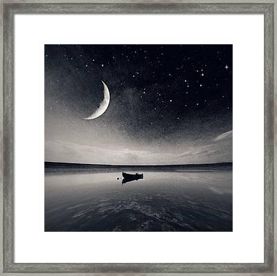 Boat On Lake At Night Framed Print by Mateusz Sawicki / Eyeem