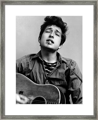 Bob Dylan Portrait With Acoustic Guitar Framed Print