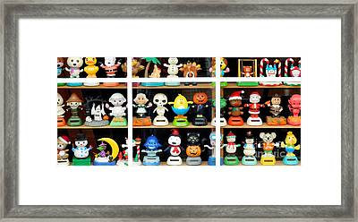 Bobbleheads In Store Window In Schroon Lake Ny In Adirondacks Framed Print