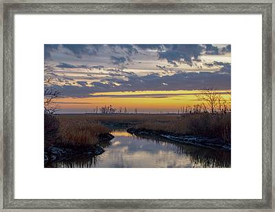 Framed Print featuring the photograph Bombay Hook Dawn's Early Light by Kristia Adams