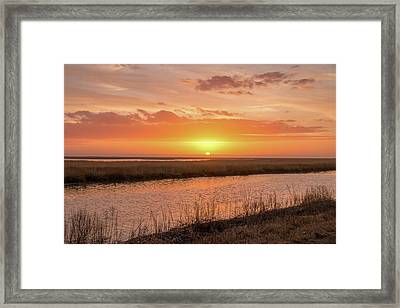 Framed Print featuring the photograph Bombay Hook Sunrise by Kristia Adams