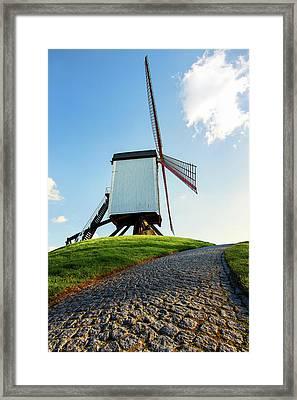 Bonne Chiere Windmill Bruges Belgium Framed Print