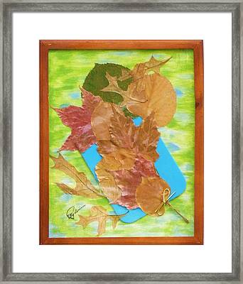 Framed Print featuring the mixed media Bouquet From Fallen Leaves by Elly Potamianos