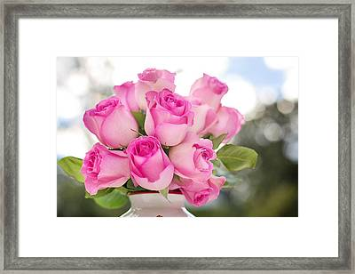 Bouquet Of Pink Roses Framed Print