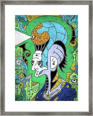 Framed Print featuring the digital art Brain-man by Sotuland Art