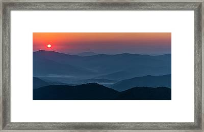 Framed Print featuring the photograph Brasstop Bald Sunrise Panorama by Andy Crawford