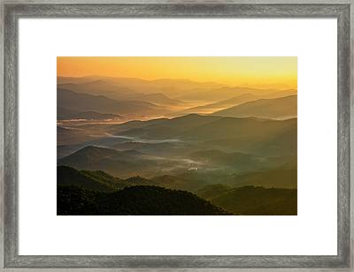 Framed Print featuring the photograph Brasstown Bald Mists by Andy Crawford