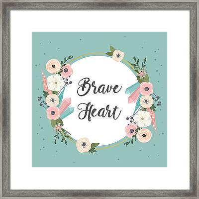 Brave Heart - Boho Chic Ethnic Nursery Art Poster Print Framed Print