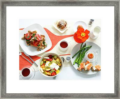 Breakfast Dishes On Table Framed Print by Cultura Rm Exclusive/brett Stevens