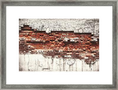 Brick Wall Falling Apart Framed Print