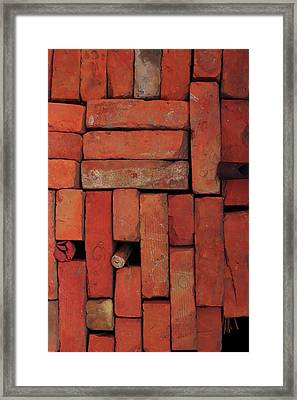Framed Print featuring the photograph Bricks by Attila Meszlenyi