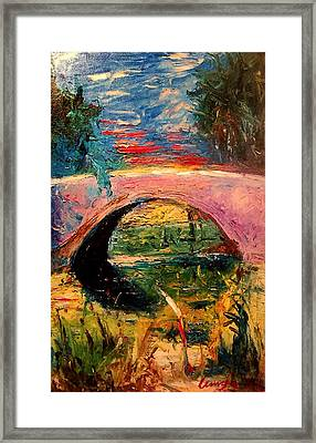 Framed Print featuring the painting Bridge At City Park by Amzie Adams