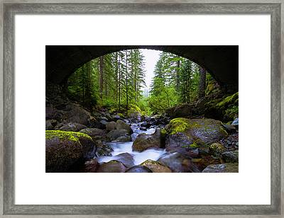 Bridge Below Rainier Framed Print