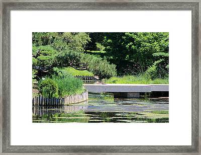 Bridge Over Pond In Japanese Garden Framed Print