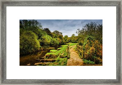 Bridge With Falling Colors Framed Print