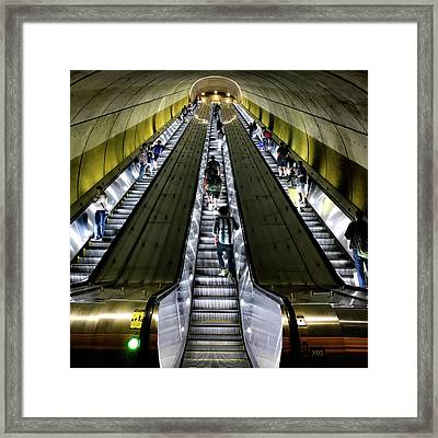Bright Lights, Tall Escalators Framed Print
