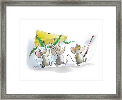 Bringing In The Christmas Cheese Framed Print