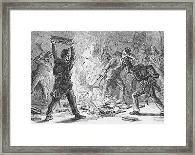 British Soldiers Burning Books In Framed Print by Kean Collection