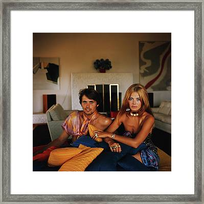 Britt And Her Brother Framed Print by Slim Aarons