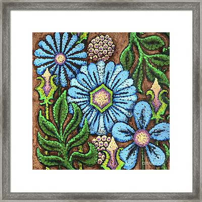 Brown And Blue Floral 1 Framed Print
