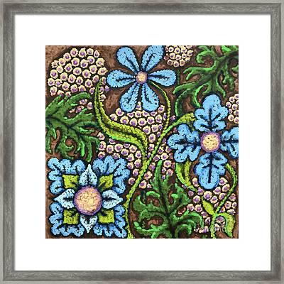 Brown And Blue Floral 2 Framed Print