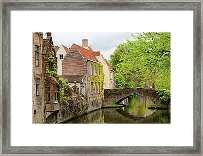 Bruges Footbridge Over Canal Framed Print
