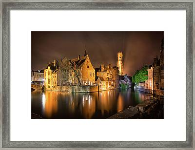 Brugge Belgium Belfry Night Framed Print