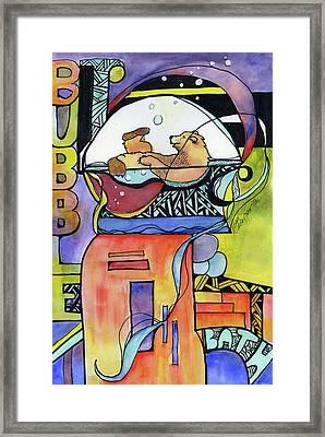 Bubble Bath Bear Framed Print