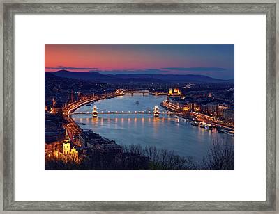 Budapest Cityscape At Dusk Framed Print